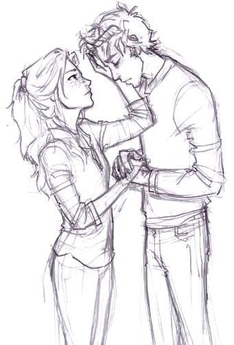 Bella checking Alex's forehead to find out he had a fever and had been overwor... #drawings #art