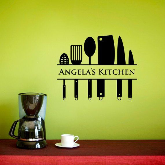 kitchen wall decal custom name decal kitchen utensil on wall stickers for kitchen id=91885