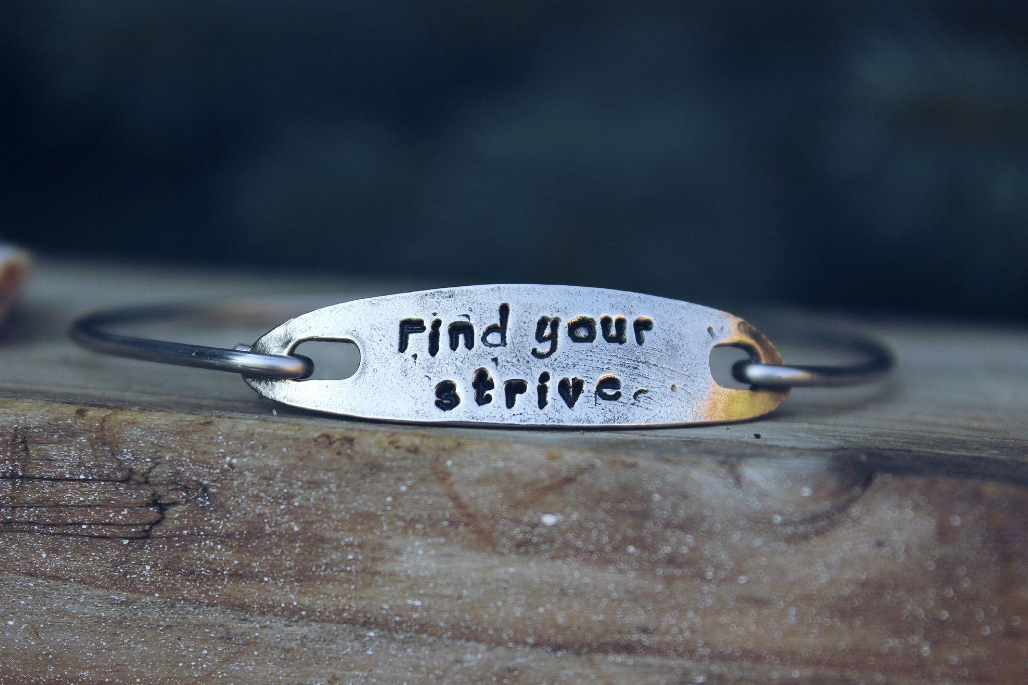 Find Your Strive Mantra Bangle Bracelet