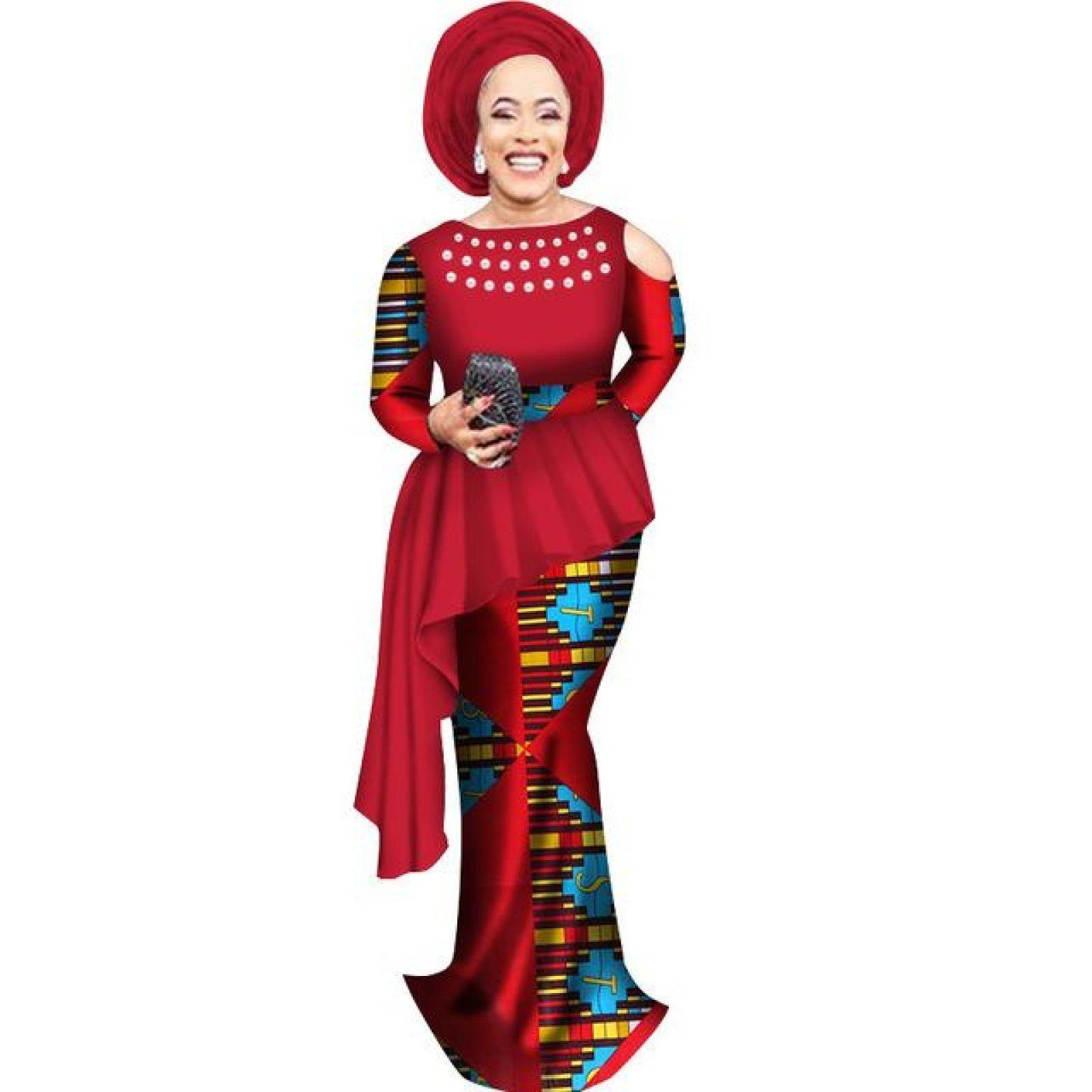 7dab1c053a African Clothing Top-Skirt Set For Women Dashiki Cotton Wax Print Plain and  Pattern