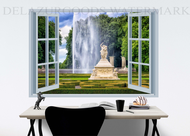 Royal Garden Window View Wallpaper Peel And Stick Etsy View Wallpaper Window View Royal Garden