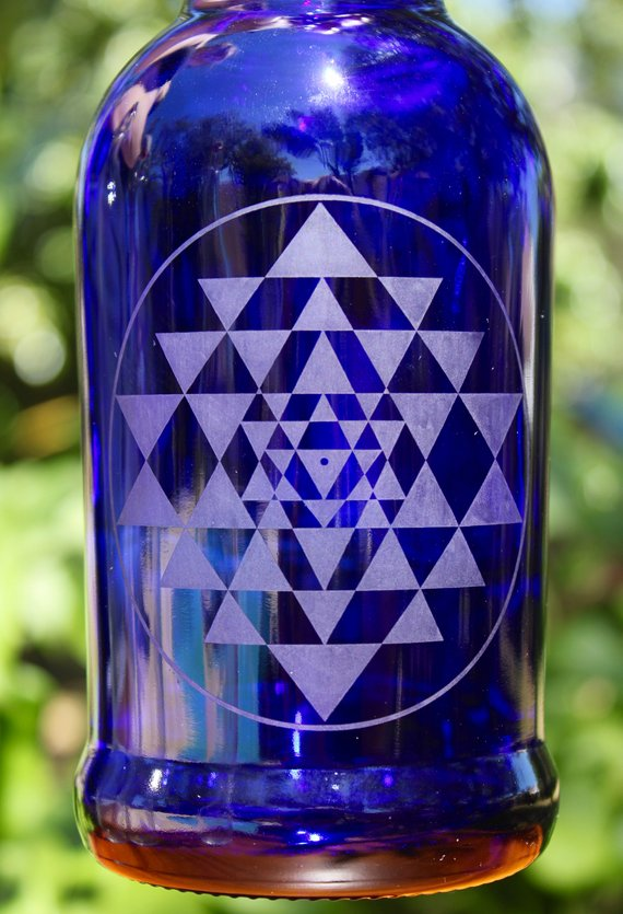 a096ae053d9b 16oz./32oz. Sri Yantra Etched Cobalt Blue Glass Reusable Water ...