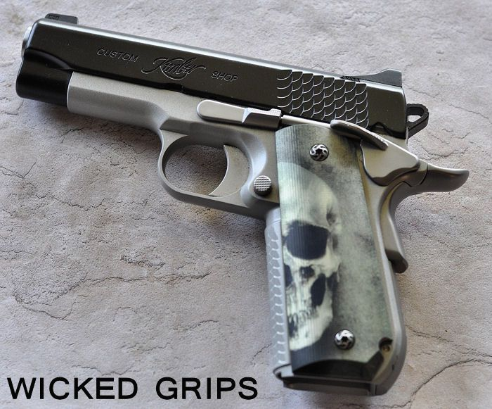 "1911 SUPER CARRY ""3D GREEN SKULLS"" - Wicked Grips - 1911 BOBTAIL / SUPER CARRY…"