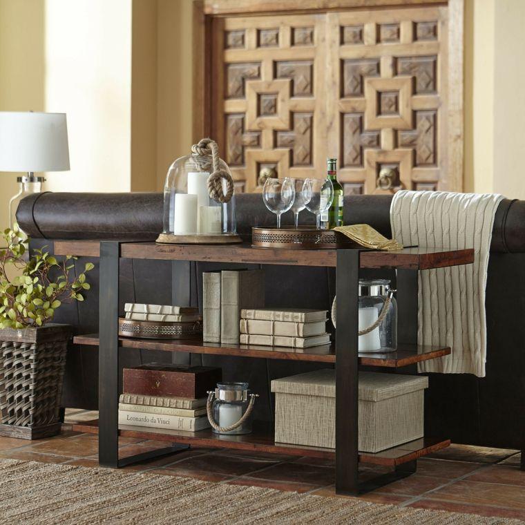 Mesas consolas detras del sofá: 35 ideas para el salón | Sofás de ...