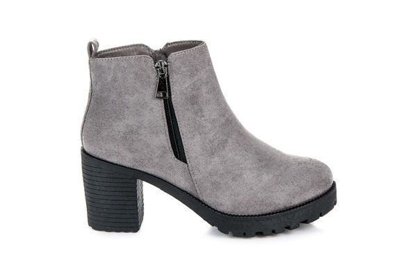 Vices New Collection Jesienne Botki Na Obcasie Szare Shoes Boots Ankle Boot