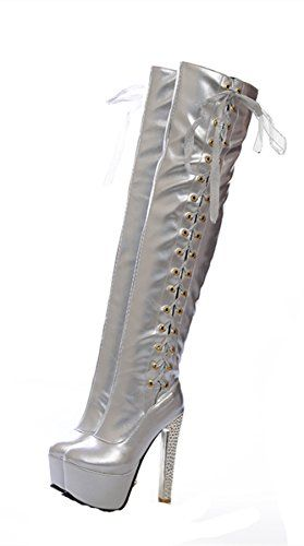 07895ab13b5 YE Womens Lace Up Over The Knee Thigh High Faux Leather High Heel Platform  Waterproof Winter Boots 85BMUS Silver     Check this awesome product by  going to ...