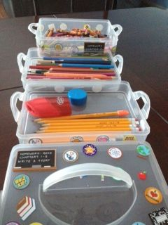 Homework box helper!!! We got a tier storage box from Michaels, and decorated it with school themed stickers. It even has a handle for portability!!!! store crayons, glue sticks, pencils, pens, erasers, sharpeners...etc. Perfect for kids when they do homework. Everything is already in one spot!!!!