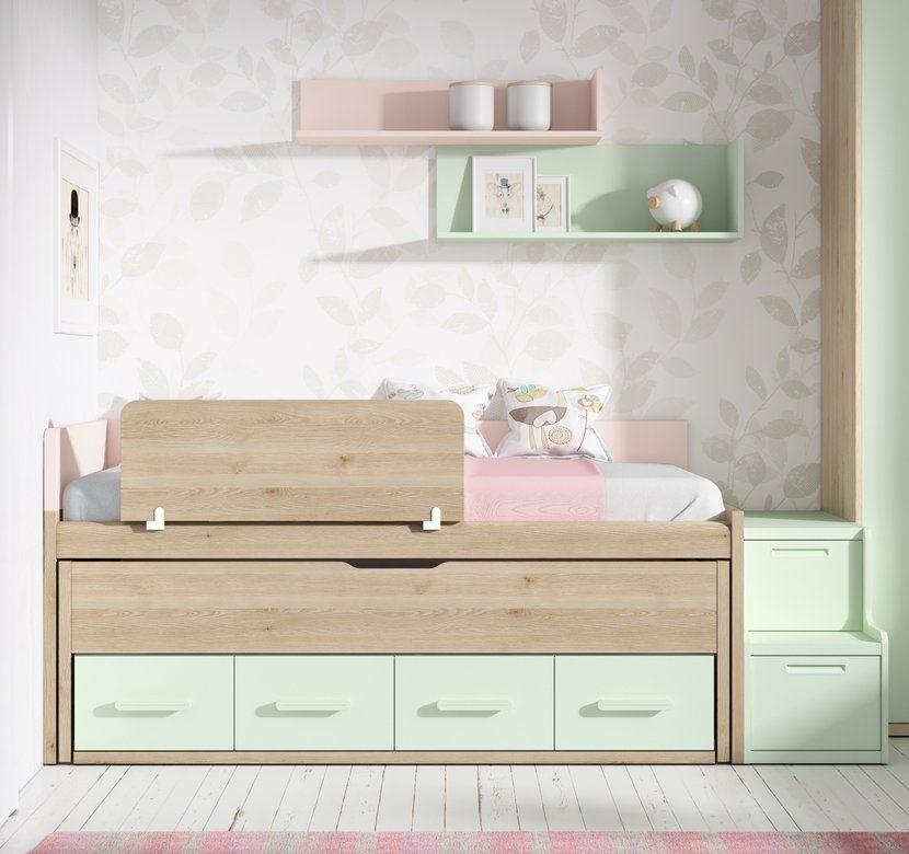 Camas compactas con cama desplazable compacto up 16 con quitamiedos escalera auxiliar y - Escaleras para camas nido ...
