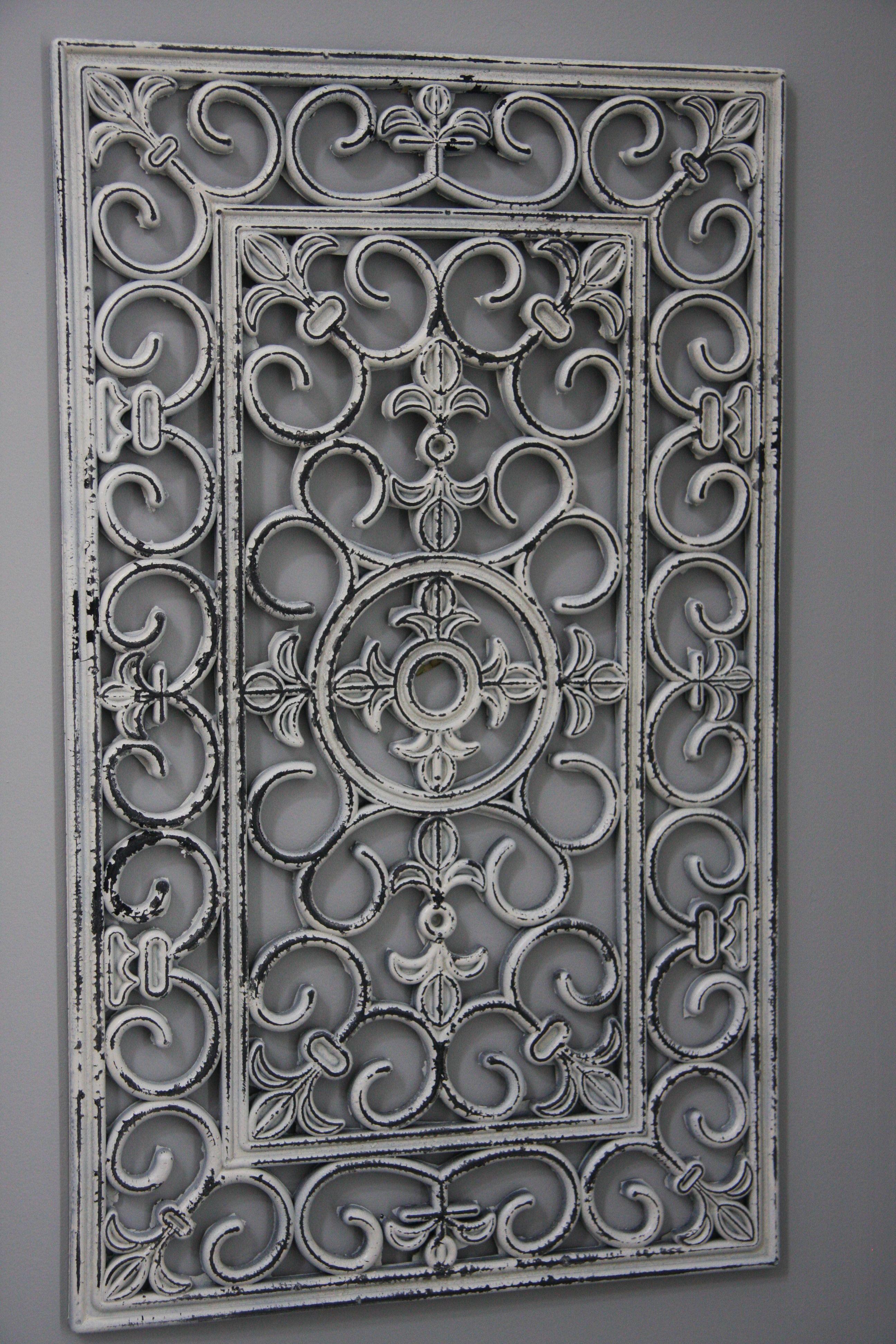 shabby chic wall art   homesense, doormat and wrought iron