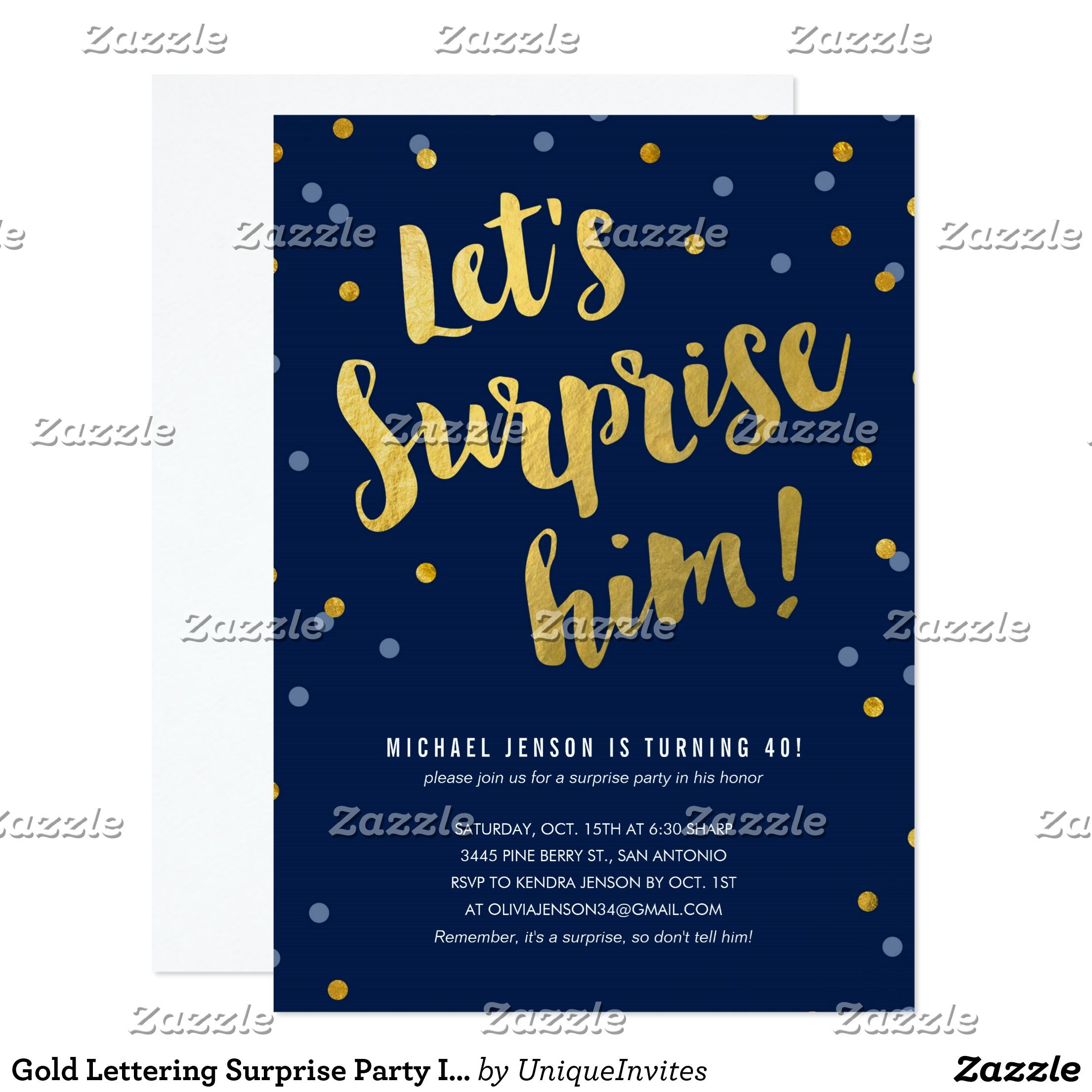 Gold Lettering Surprise Party Invitations for Him | Nathan\'s Dirty ...
