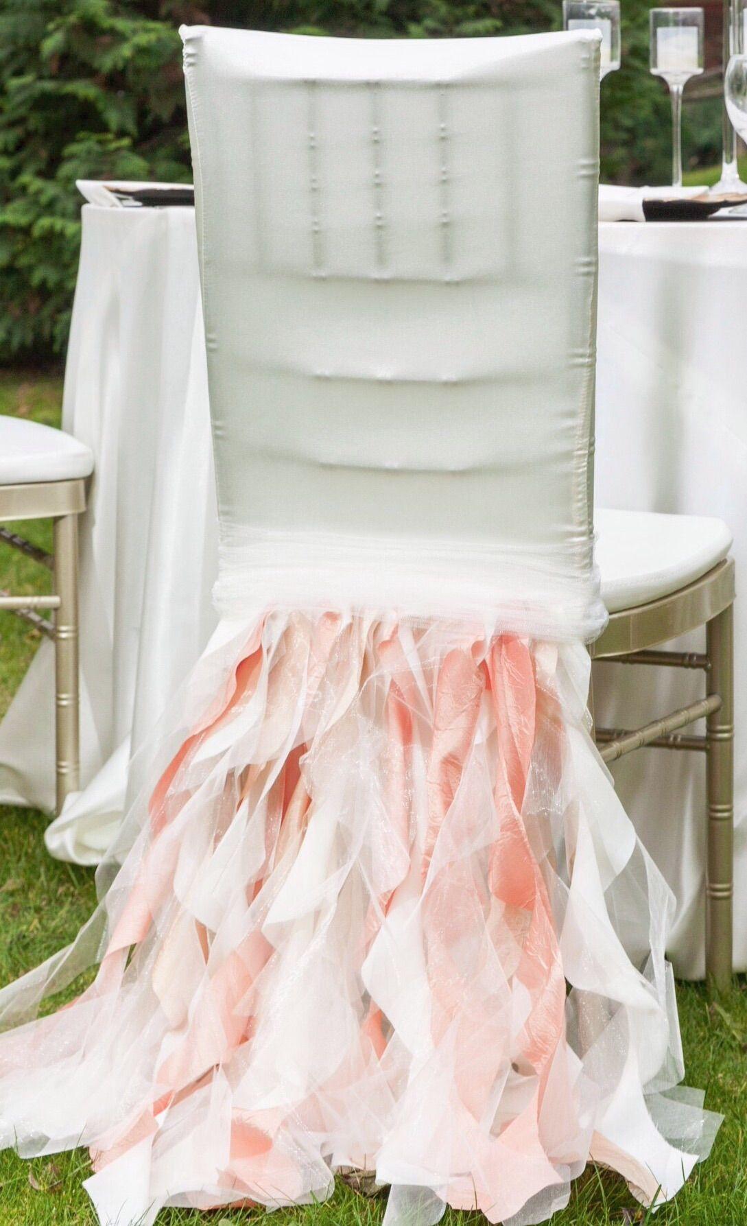 Ruffled Organza And Taffeta Chair Decoration By Florarosa Design