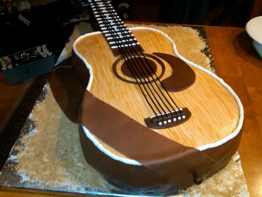 music made out of cake guitar cake my first guitar cake started with 4 11x15 cakes cake is. Black Bedroom Furniture Sets. Home Design Ideas