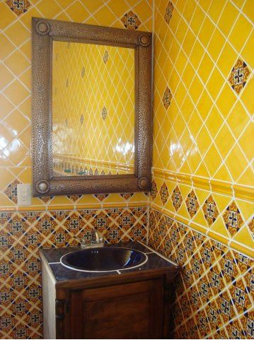 Mexican Home Decor on Mexican Tile In Bathroom With Tin ...