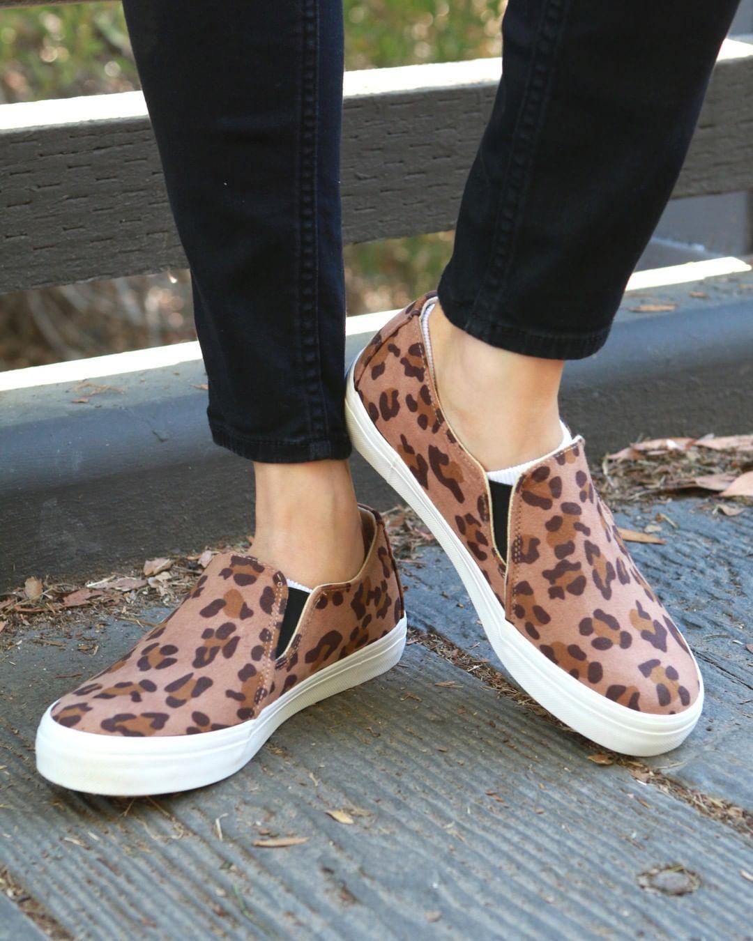 VANITY leopard print slip on sneakers