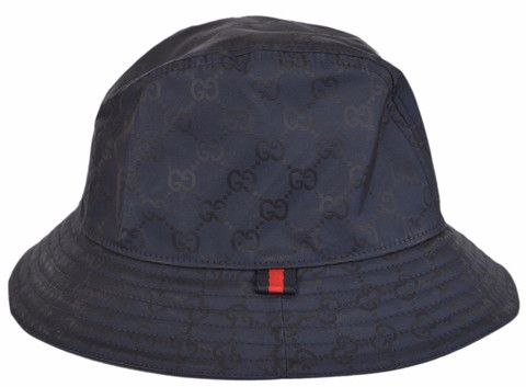 65244197c New Gucci Men's 387558 BLUE GG Guccissima Nylon Bucket Rain Hat ...