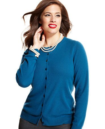 Charter Club Plus Size Sweater, Cashmere Long-Sleeve Cardigan