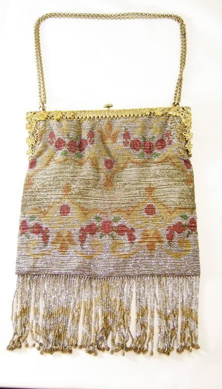 Art Deco 1920s Floral Steel Beaded Bag
