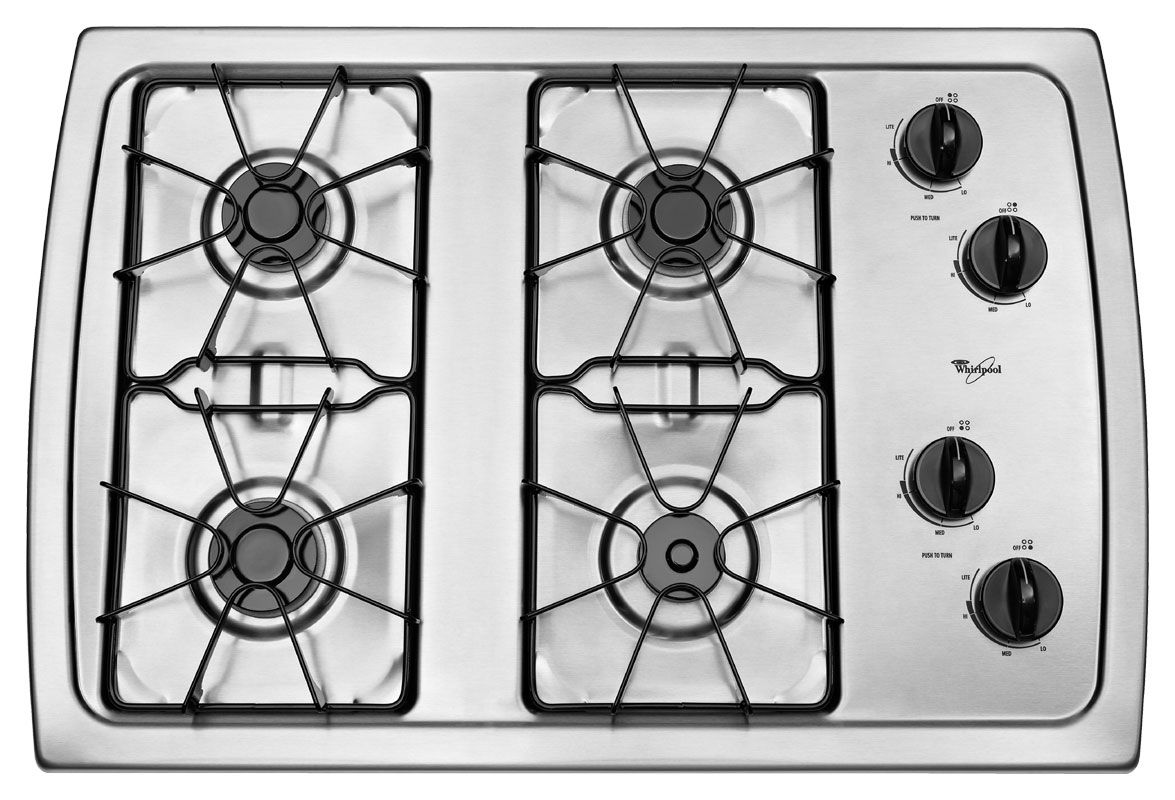 30 Inch Gas Cooktop With 5 000 Btu Accusimmer Burner W3cg3014xs Whirlpool Gas Cooktop Cooktop Stainless Steel Microwave