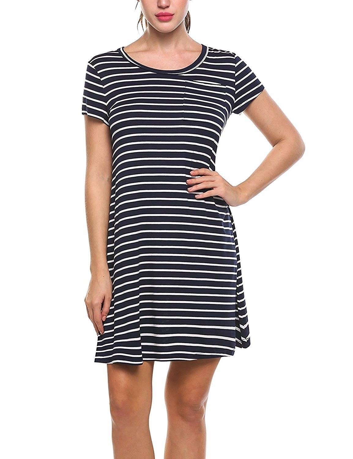 430a182c38 Women s Tunic Swing T-Shirt Dress Short Sleeve Pocket Striped Tunic ...