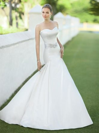Trumpet/Mermaid Sweetheart Satin Sweep Train Ivory Beading Wedding Dresses at Millybridal.com