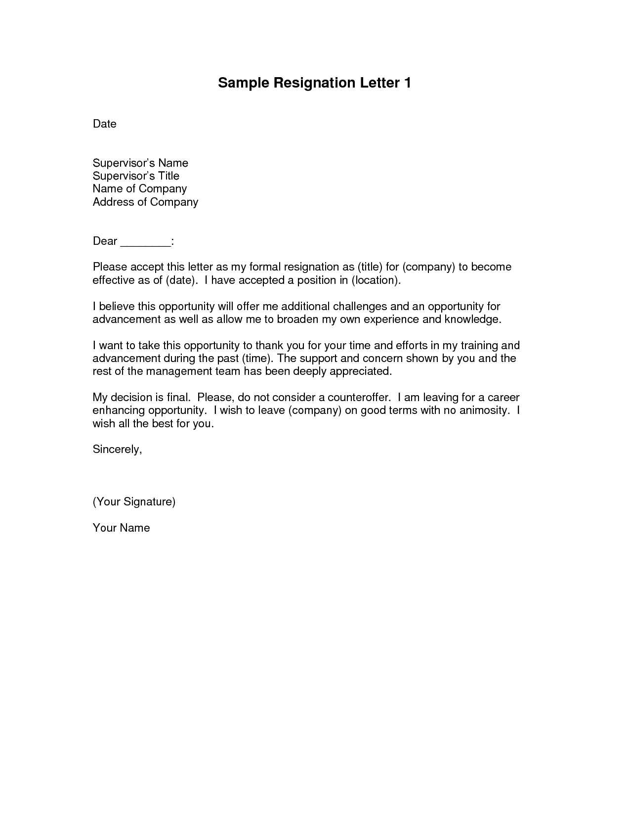 sample resignation letter template professional