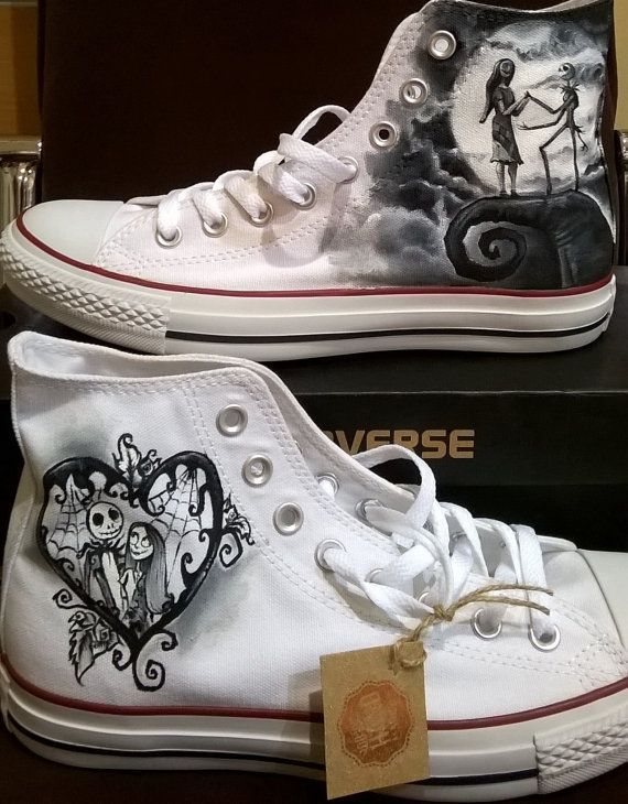 Nightmare Before Christmas Hand Painted Converse Shoes, Wedding Shoes, Hand Pain...