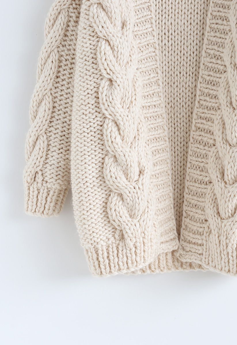 Cable Trim Chunky Hand Knit Cardigan beige L-XL