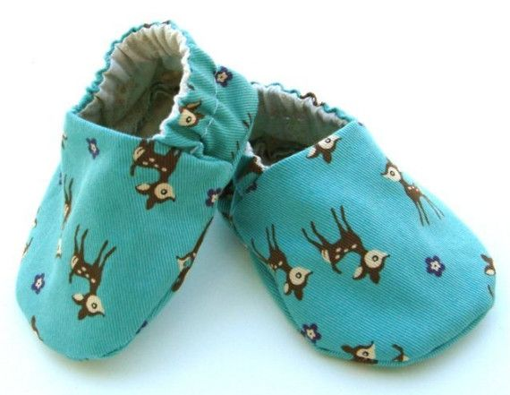 Kawaii Doe A Deer Blue SlipOn Baby Shoes by WonderfulDay on Etsy, $12.00