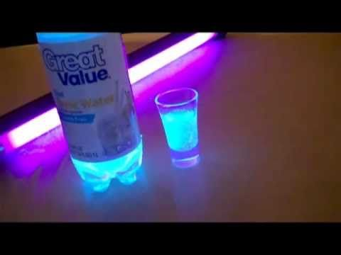 Seltzer water contains a harmless chemical that glows under a ...