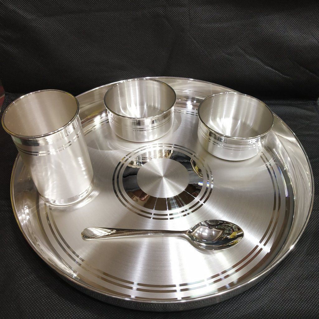 Silver Dinner Set 990 Bis Hallmarked Certified Pure Products Silver Pooja Items Pure Silver