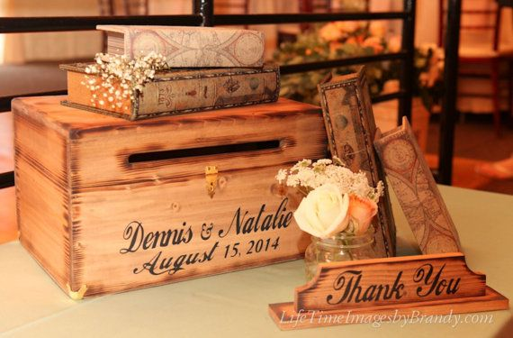 Wedding Card Box Custom bride groom names and date Thank You sign Personalized Country Barn Wood wooden