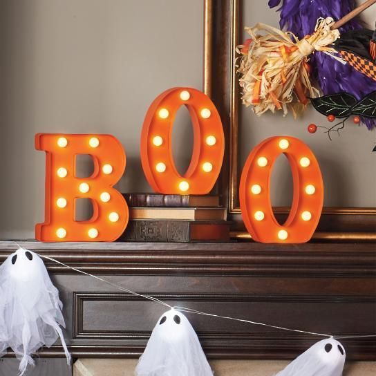 Boo Lighted Letters Halloween Large Marque Decor Battery Cordless Upscale Led Marquee Letters Light Letters Shop Wall Decor
