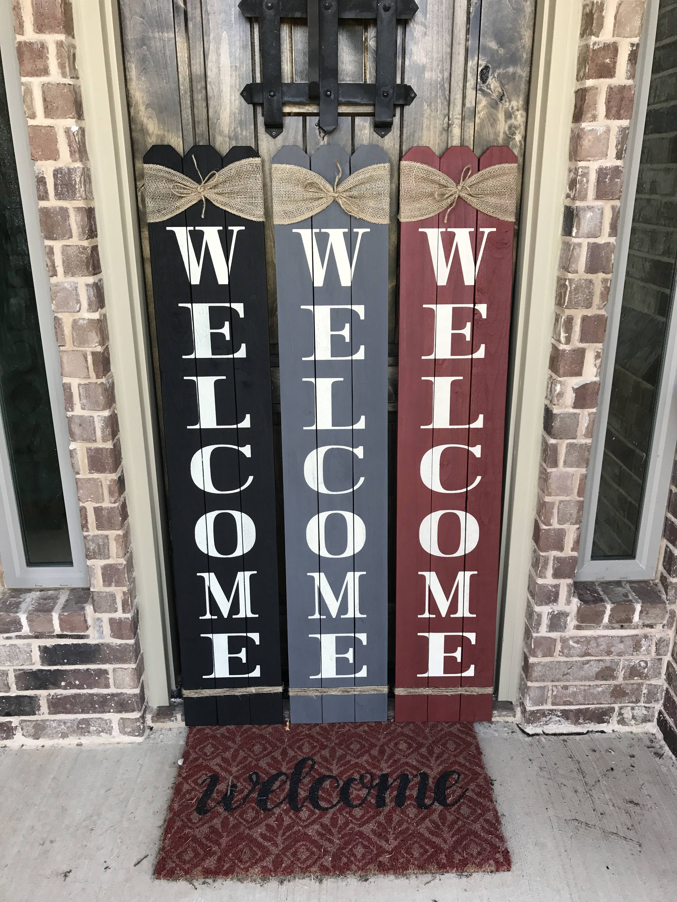 Rustic Wood Welcome Sign Vertical Wooden Welcome Sign Etsy Wooden Welcome Signs Porch Signs Wooden Signs Diy