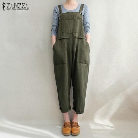 d7d1495ab00 2018 ZANZEA Women Strappy Pockets Loose Solid Jumpsuits Casual Cotton Linen  Dungarees Bib Overalls Retro Baggy Rompers Plus Size