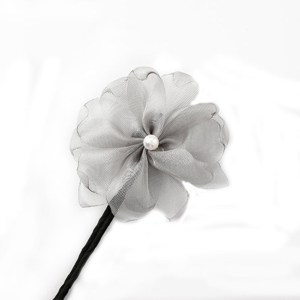 Photo of Woman Flower French Bud Headband Hair Bun Maker DIY Hairstyle Tool Accessory – Grey