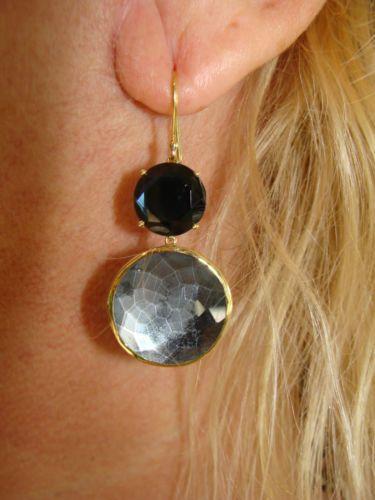 "IPPOLITA Designer 18K Gold Large "" Blue Steel Grey Lolipop Dangle Earrings"" | eBay=1,225.00."
