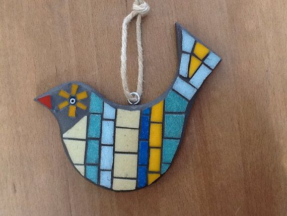 Mosaic bird made with vitreous glass and millefiore
