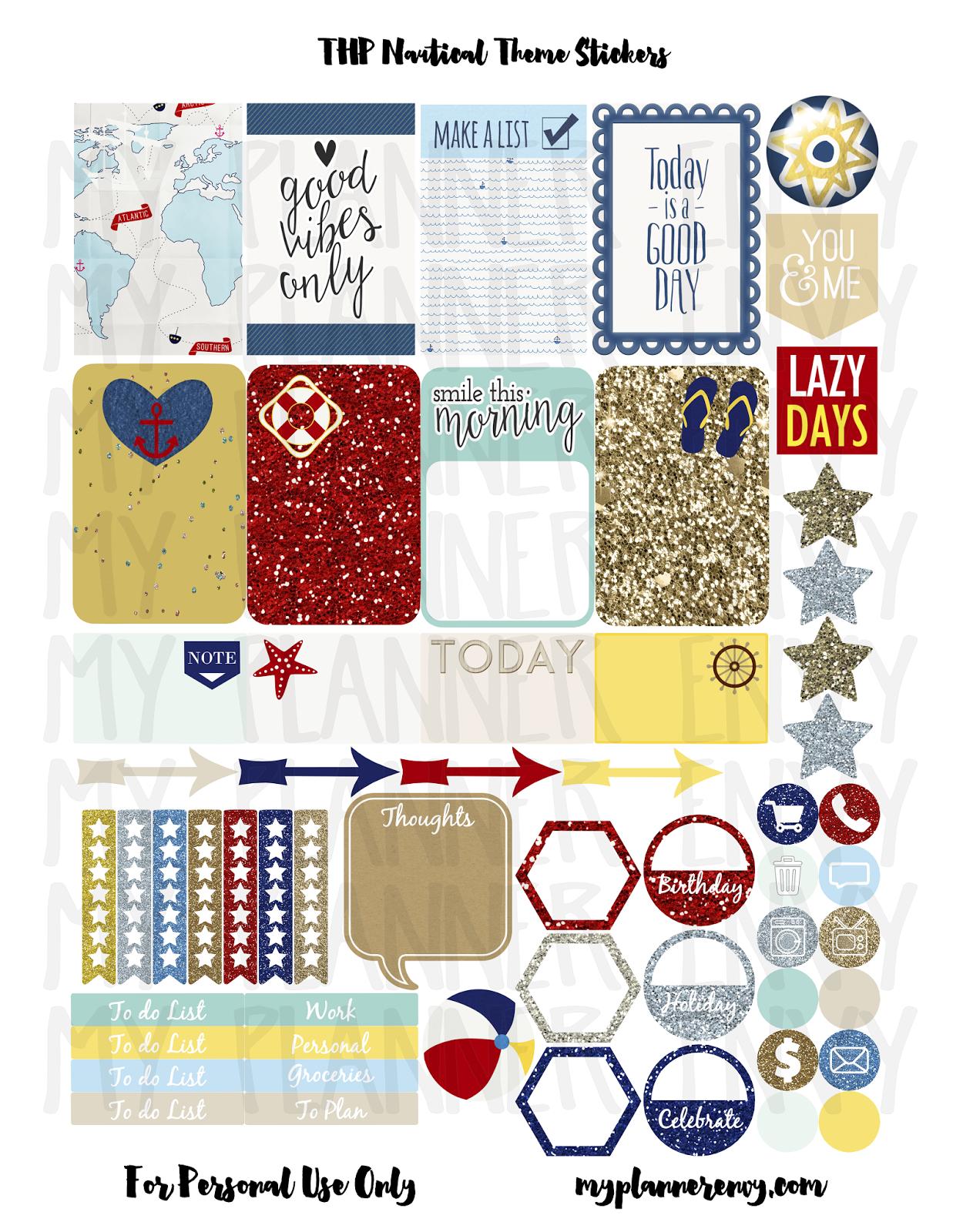 The Happy Planner Nautical Theme Sticker Sheet Sampler