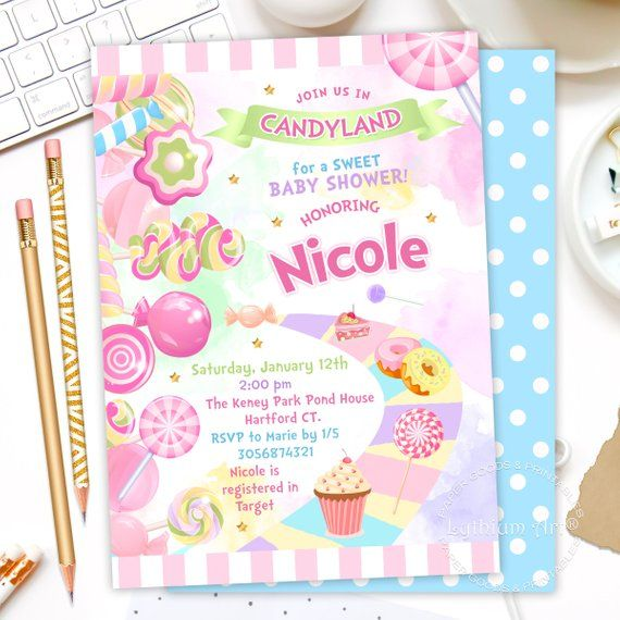 Candyland Baby Shower Invitation Candy Land Party
