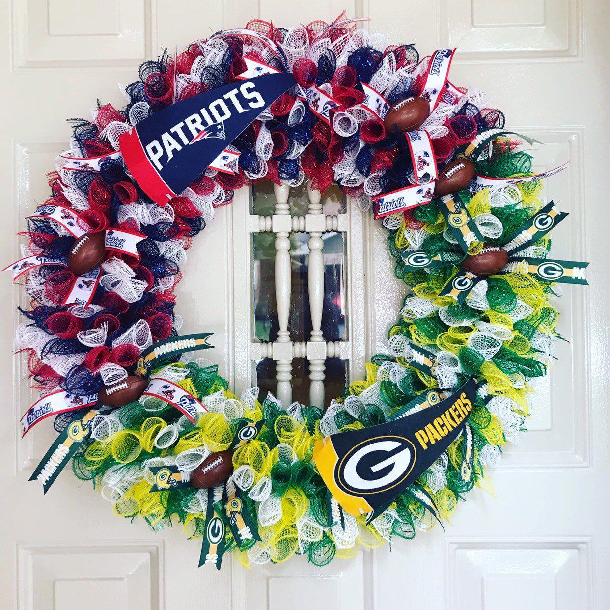Arkansas-Saints-Packers-FSU-Ole Miss-Baylor-Florida Team Wreath-Football Wreath NFL-Pick your team Wreath-Dallas-Patriots-Ohio-Alabama-Lsu