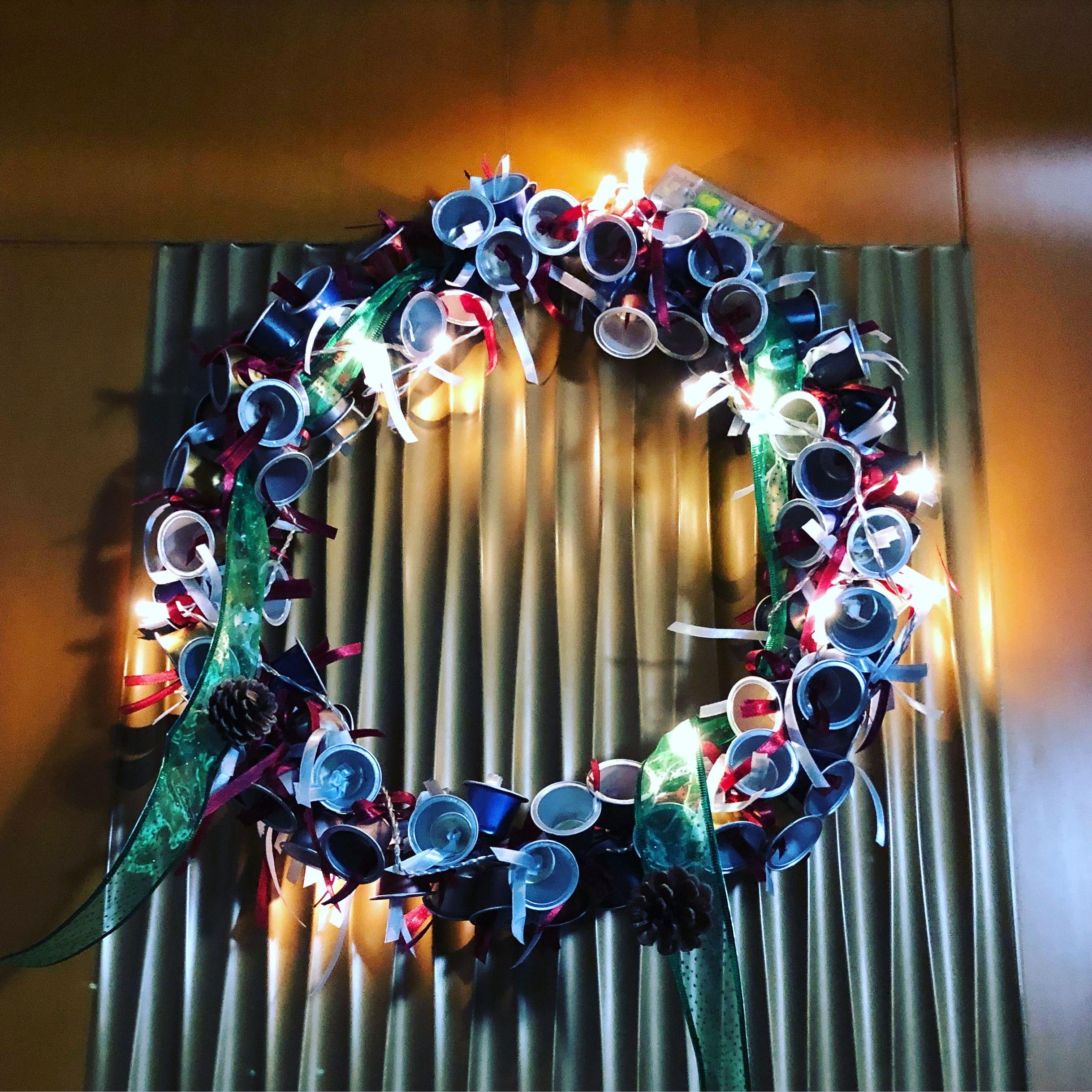 Recycled Nespresso Pods Christmas Wreath Christmas Wreaths Wreaths Hanukkah Wreath