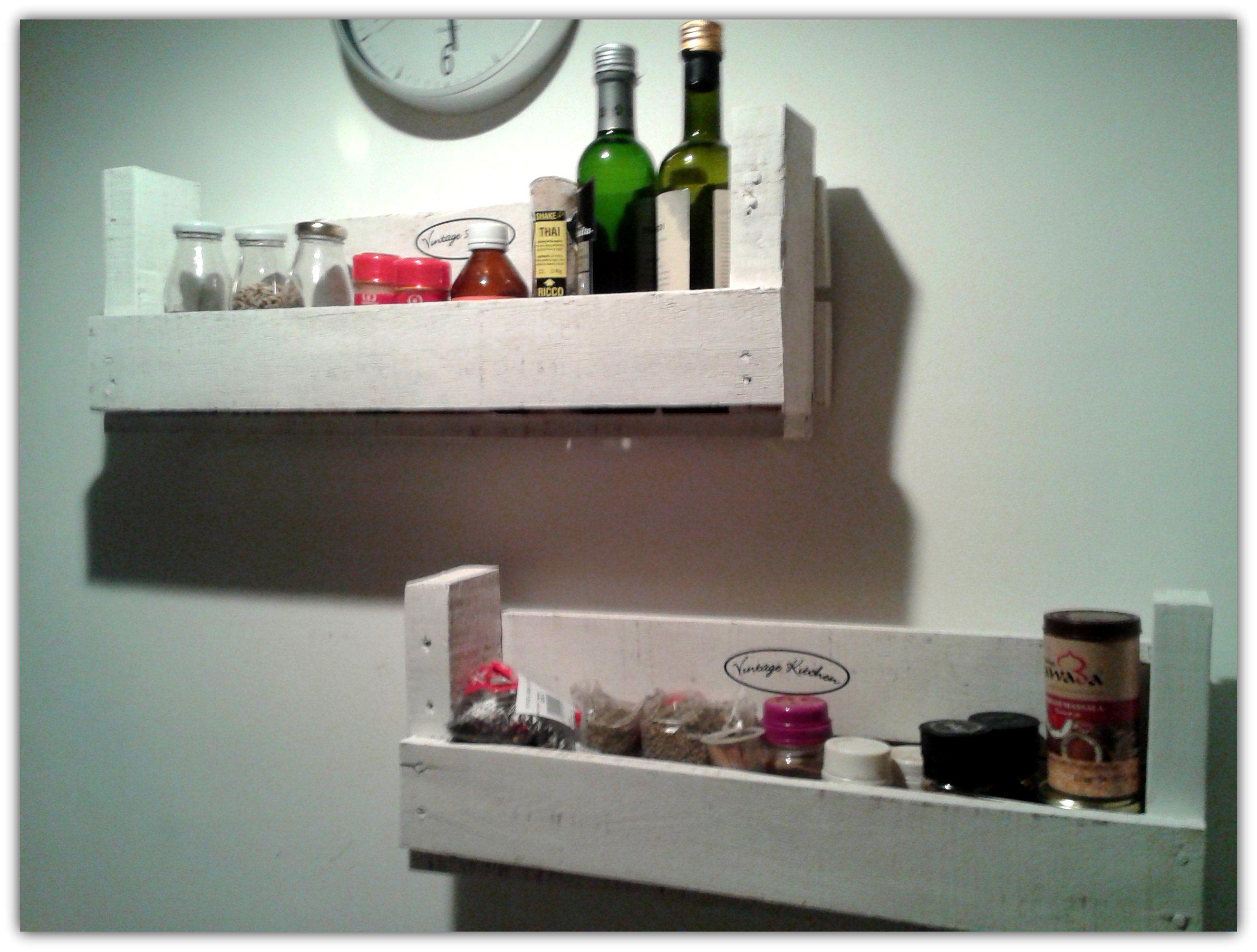 estantes de madera reciclada para cocina estantes