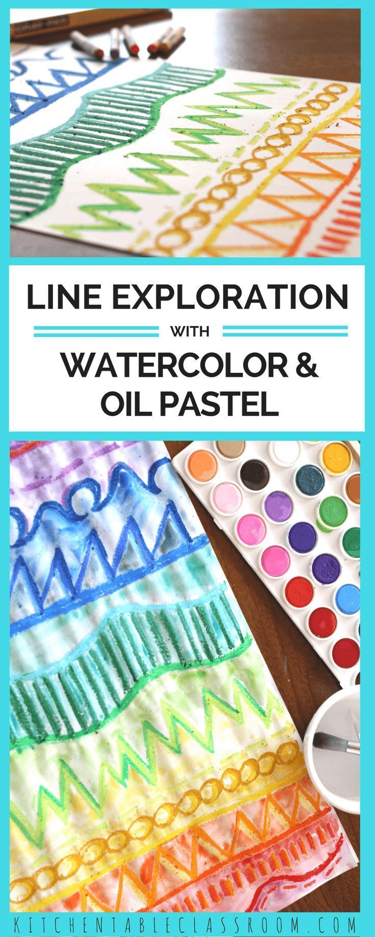 Line Exploration with Oil Pastel and Watercolor | Art Education ...