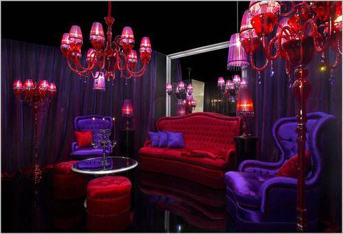 Boudoir Chandelier Decor Purple Red