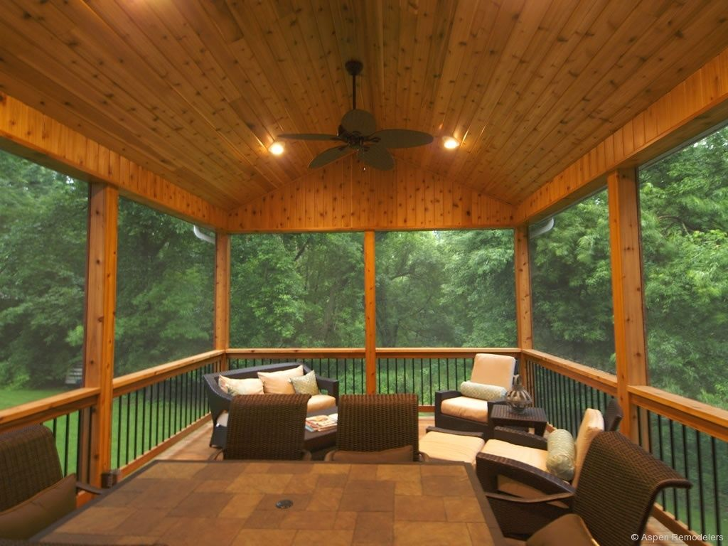 rustic porch with screened porch knotty pine ceiling screened