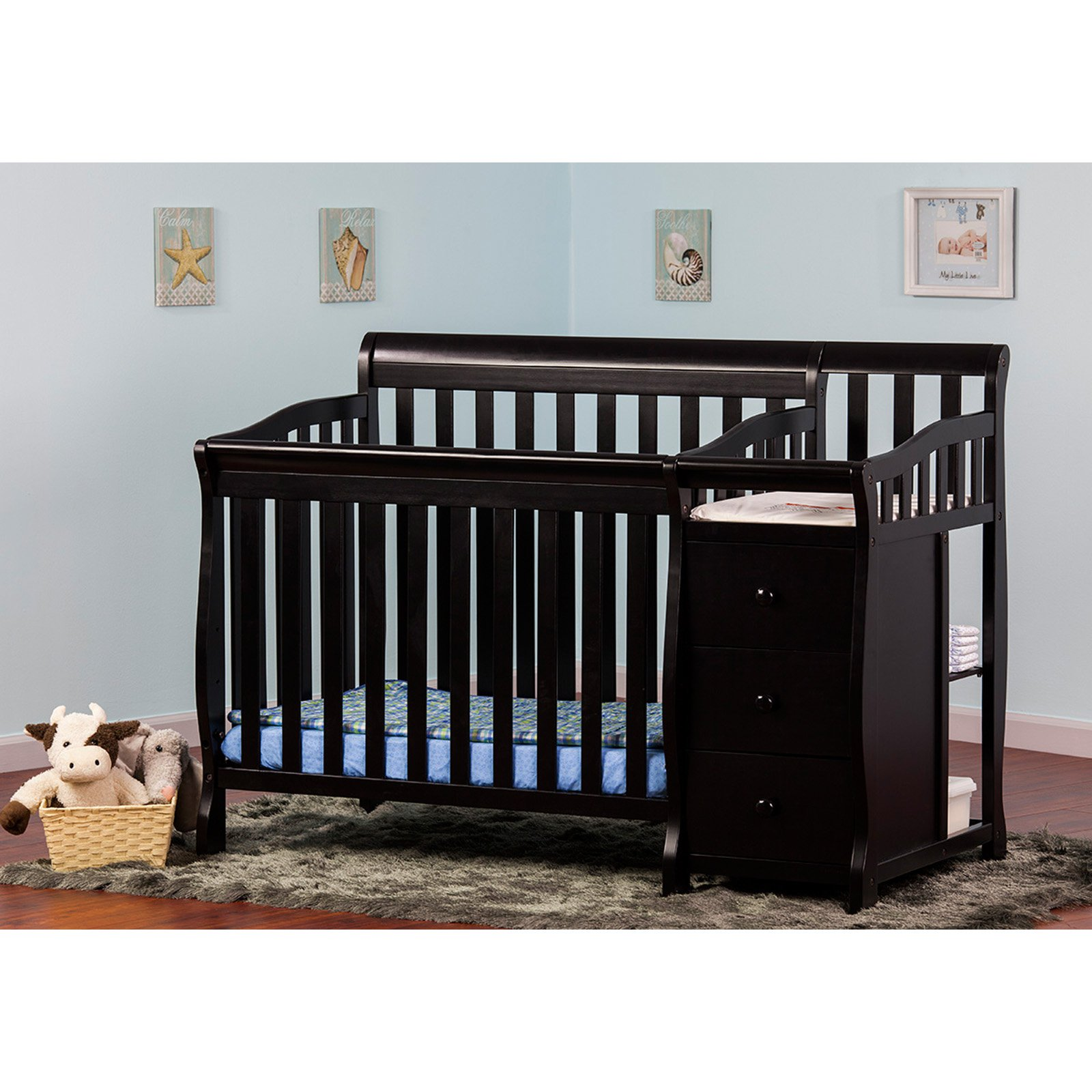 Dream On Me Jayden 4 In 1 Mini Convertible Crib And Changer With Conversion Posts Cribs Convertible Crib Mini Crib