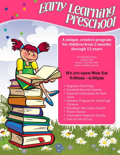Free Child Care Flyer Templates  Early Learning Preschool Flyer