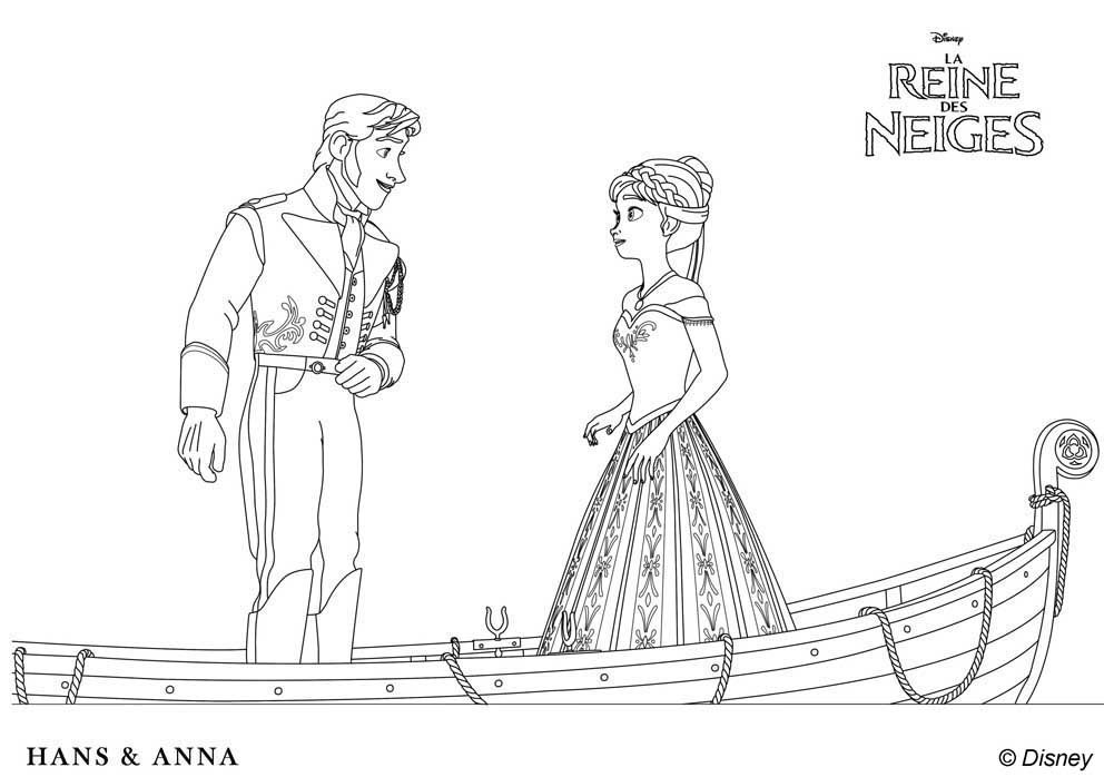 Coloriage Hans Et Anna La Reine Des Neiges Disneys Frozen