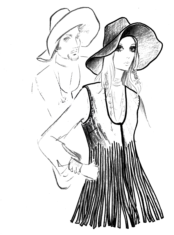 Vintage Sewing Pattern Groovy Felt Wide Brim Hat-Fringed Vest 1970's Instant Download Average Head Size 22 Inches