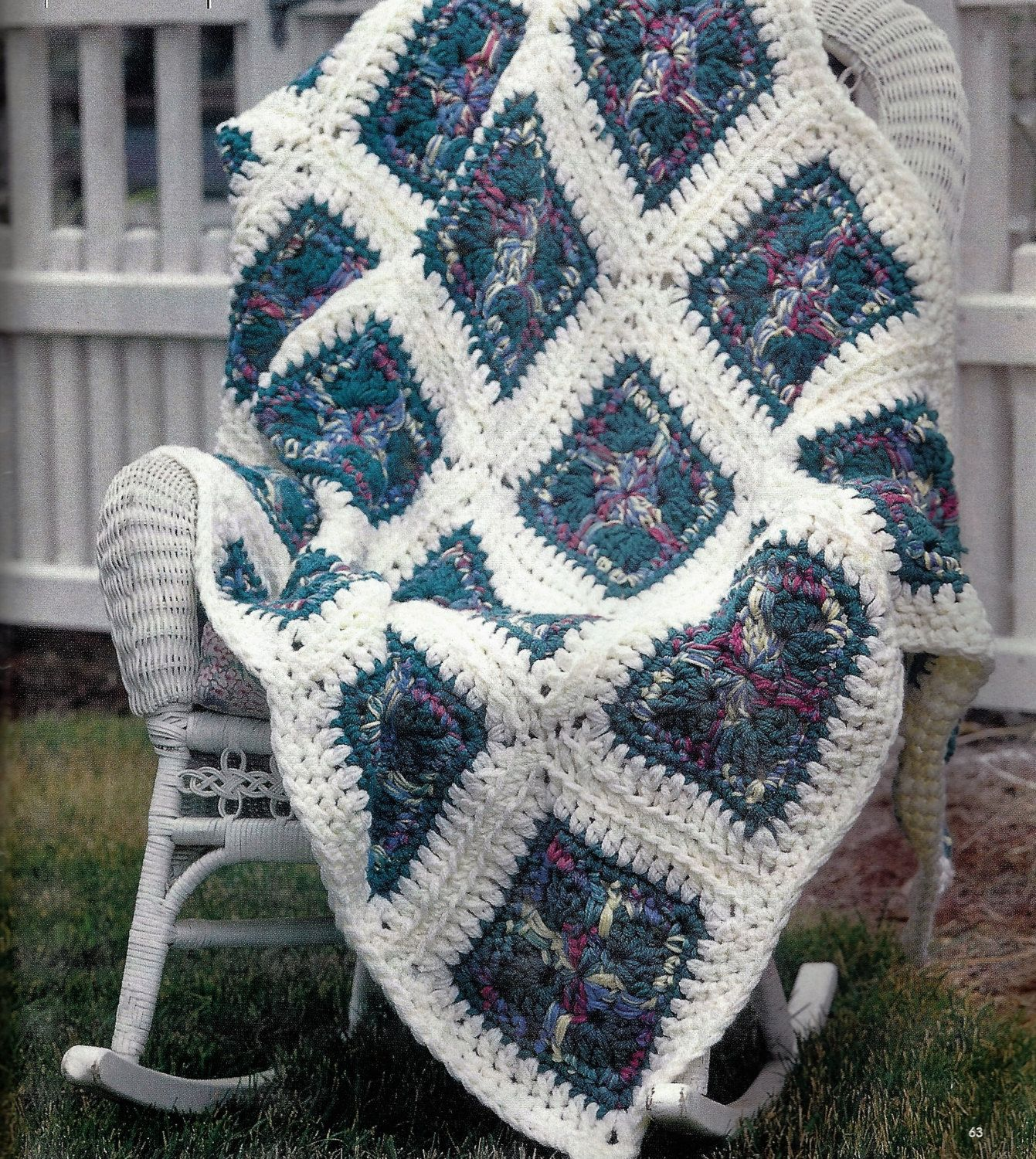 Crochet Q-16 hook Crossroads Granny Square Quick & Easy Afghan Patt ...